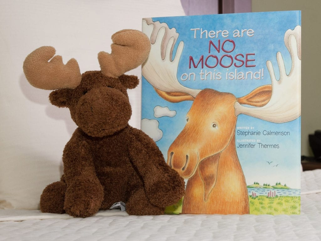 Photo of the stuffed moose and book included in the Kid's Package at the Acadia Inn, Bar Harbor, Maine